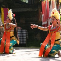 Bali dancers perform traditional dancing.