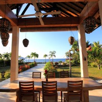 During lunch on the covered terrace to enjoy the view over the Bali sea.