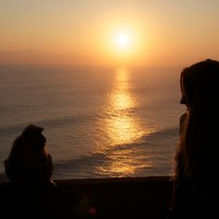 watching the sunset in Bali together with a monkey.