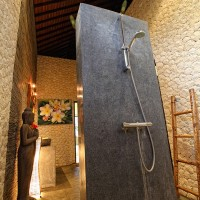 After a visit, for example the beach, you can have a nice shower in the modern bathroom of the holiday villa in Bali.