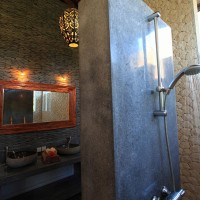 Modern shower in the bathroom of our holiday in Bali.