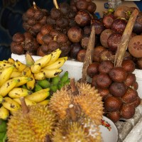 At the many stalls you can find all kinds of fruits from the island of Bali.