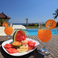 A delicious fruit cocktail at the pool of our holiday villa in Bali.