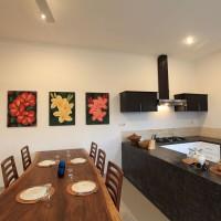 The villa has a modern kitchen.