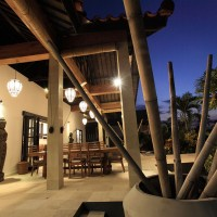 The terrace of the holiday villa in Bali at night.