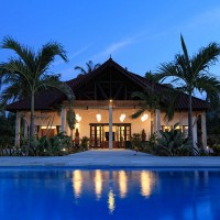 Front view of the villa in Bali at night.