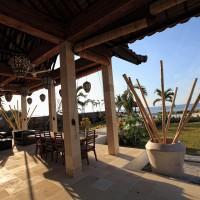 The sunny terrace of holiday villa in Bali.